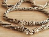 Valoros set bijuterii vechi argint masiv 925 bratara si colier cantresc 80g