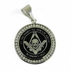 Pandantiv Masonic Argintiu cu Negru, decorat cu cristale ziconiu - MM741