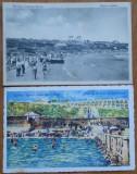 2 carti postale , plaja Carmen Sylva , interbelice, Circulata, Printata