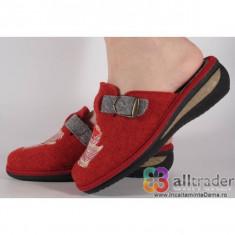 Papuci de casa rosii femei, din lana, talpa cu memorie 191052