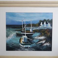 Tablou vechi - Barci la mal - N.Matuizen (100)