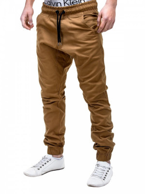 Pantaloni pentru barbati, camel, casual, cu banda jos, siret - P205 foto