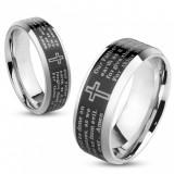 Verighetă realizată din oțel, culoare argintie, fâșie neagră cu rugăciunea Tatăl Nostru, 6 mm - Marime inel: 52