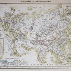 LANTURILE MUNTOASE IN ASIA SI EUROPA , HARTA CU TERMENII SI DENUMIRILE IN LIMBA GERMANA , MIJLOCUL SEC. XIX