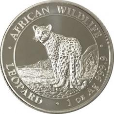 Moneda argint 999 lingou, Leopard Somalia 2018, 1 uncie 31 grame