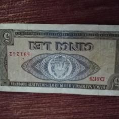 Bancnote -  Romania 1966-5 lei