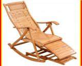 Cumpara ieftin Balansoar Terasa Tip Sezlong Scaun Gradina Lemn Rezistent Lacuit Bambus