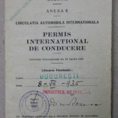 PERMIS INTERNATIONAL DE CONDUCERE , EMIS LA 8 IULIE 1935