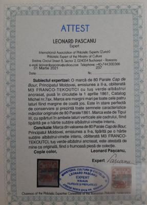 MOLDOVA 1858 CAP DE BOUR 80par. PE HARTIE RARA ALBASTRUI-VINETIE INTENS. MI 7ax. foto