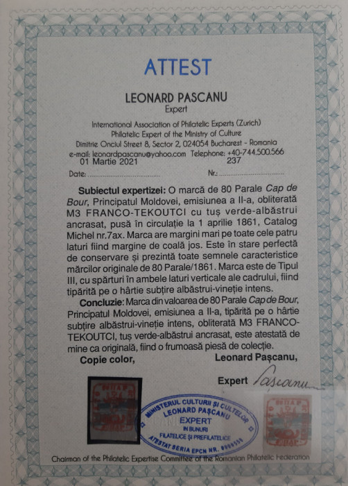 MOLDOVA 1858 CAP DE BOUR 80par. PE HARTIE RARA ALBASTRUI-VINETIE INTENS. MI 7ax.