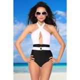 Costum de baie Vintage Monokini S alb/negru
