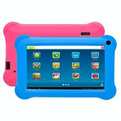 """Tableta portabila pentru copii, Denver TAQ-70352K, Display 7"""" Quad-Core, 8GB, WiFi, Android 8.1, husa din silicon albastra si roz"""