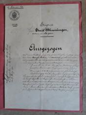 ACTE NOTARIALE VECHI - 1891 - MARCA FIXA - TIMBRU SEC - FILIGRAN - CALIGRAFIE foto