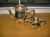 572- Set cafea ceainic zafarnita metal argintat stil Baroc.
