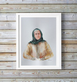 Pictura acuarela taranca, neinramata, 35x27cm, Portrete, Realism