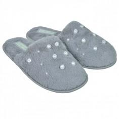 Papuci imblaniti de dama, model cu margele, marime 36-37, gri