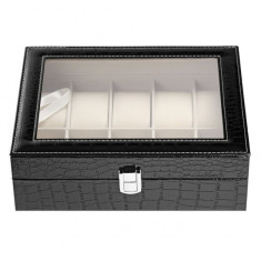 Cutie caseta eleganta depozitare cu compartimente pentru 10 ceasuri, imprimeu...