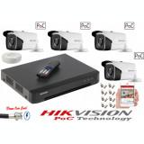 Cumpara ieftin Kit 4 camere supraveghere 5MP Full HD, PoC, IR 40m HikVision + DVR 4 canale Pentabrid PoC HikVision + Cablu + Mufe