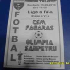 program     CSM  Fagaras  -  Olimpia  Sanpetru