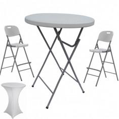 Set masa plianta rotunda inalta catering D80xH110cm cu 2 scaune pliante inalte si husa elastica alba MN016694-4-66245 Raki