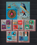 Timbre Arabia, Yemen, 1970 - Serie MNH şi coliţă - Medaliaţi Olimpici Germania, Sport, Nestampilat