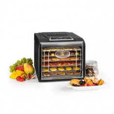 Klarstein FRUIT JERKY PLUS 6, uscător de fructe, timer, 6 rafturi, tablă, 420-500 W, culoare neagră