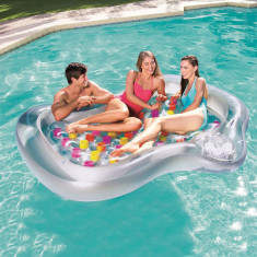 Saltea gonflabila tip insula, pentru 2 persoane, suport bautura, 216x178x30 cm