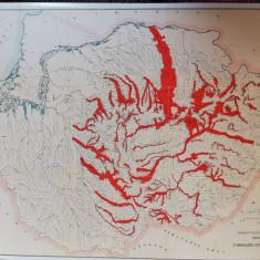Harta Romania Mare, interbelica,Fortele hidraulice ale Romaniei,mari dimensiuni