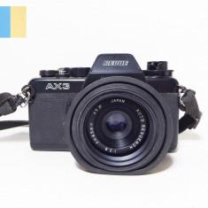 Revue AX3 cu obiectiv Revuenon 45mm f/2.8 montura Pentax K, in etui piele