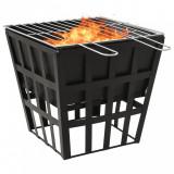 Vatră de foc 2-in-1 cu grătar, 34x34x48 cm, oțel, vidaXL