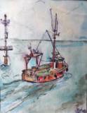 Paul Hitter - acuarela pe hartie , 29 x 20 cm, Marine, Altul