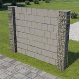 Gard gabion cu 2 stâlpi, 180 x 180 cm, oțel galvanizat și PVC