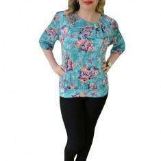 Bluza de ocazie turcoaz cu imprimeu floral