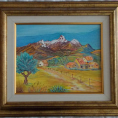 "Tablou reproducere culori acrilice ""Peisaj montan"" ,37x32 cm"