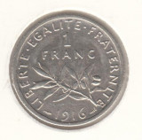 FRANTA - 1 FRANC 1916 , Ag835 , LF1,37, Europa