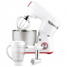 Robot de bucătărie Heinner, 1000W, mișcare planetară, accesoriu mașină de tocat și blender, bol 5.5 L, 10 viteze + pulse, Alb