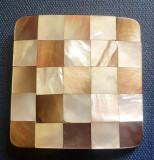 C961-I-Pafta curea veche bronz cu sidef alb negru.