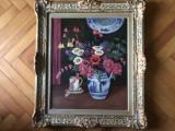 Tablou,pictura veche franceza,ulei pe panza,vaza cu flori,semnata