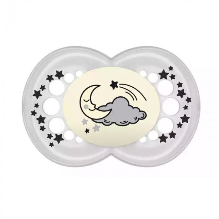 Suzeta ortodontica din silicon 16+ luni MAM Original Night 719905, Gri