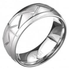 Inel din oțel - două linii și model în zigzag, suprafață argintie - Marime inel: 67