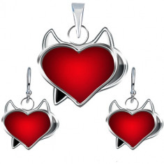 Set cercei și pandantiv din argint 925 - inimă roșie de drăcușor