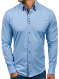 Cămașă elegantă cu mâneca lungă pentru bărbat albastră-deschis Bolf 4706