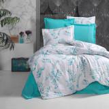 Cumpara ieftin Lenjerie de pat pentru o persoana cu husa de perna dreptunghiulara, Elisa, bumbac satinat, gramaj tesatura 120 g mp, multicolor, 140x240 cm, Set complet, FIVE STORE