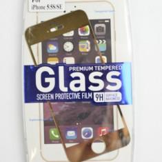 Folie sticla securizata pentru IPHONE 5/5s/SE Fata+Spate Gold
