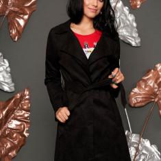 Trench SunShine negru casual din imitatie de piele de caprioara cu croi drept cu buzunare si cordon detasabil