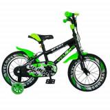 Cumpara ieftin Bicicleta Copii VELORS V1801A, Roti 18inch, frane C-Brake, roti ajutatoare (Negru/Verde)