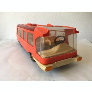 Autobuz ONT Carpati Metaloglobus, caroserie plastic rosu, sasiu metal, anii 80