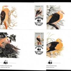 Mauritius - Fauna WWF - PASARI - 4 FDC - Michel 50 Eur. - serie