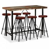 Set mobilier bar, 7 piese lemn masiv reciclat și piele naturală, vidaXL