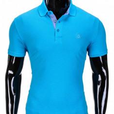 Tricou pentru barbati polo, turcoaz simplu, slim fit, casual - S837